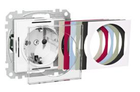 Schneider Exxact Vägguttag 1-vägs Transparent front/Borstad stål