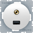 Berker R.1/R.3 Uttag USB Audio 3,5 mm, Polarvit blank