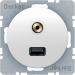 Berker R.1/R.3 Uttag USB Audio 3,5 mm, Polarvit blank