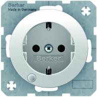 Berker R.1/R.3 Vägguttag 1-V LED-Indikator Jordad Vit