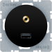 Berker R.1/R.3 Uttag USB Audio 3,5 mm, Svart blank