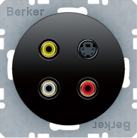 Berker R.1/R.3, Uttag Cinch / RCA + S-Video, Svart blank