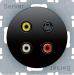 Berker R.1/R.3, Uttag Cinch / RCA + S-Video, Svart blank