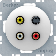 Berker R.1/R.3, Uttag Cinch / RCA + S-Video, Polarvit blank