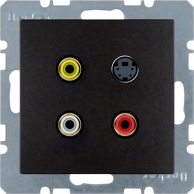 Berker S.1/B.3/B.7, Uttag Cinch / RCA + S-Video, Antracit svart matt