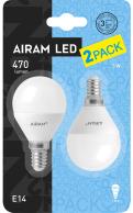 Airam LED Klot 2-pack 5w 2800k E14 470lm 12000h