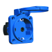 Paneluttag m. lock jord 16A blå Schuko IP44