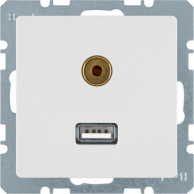 Berker Q.1/Q.3 USB-uttag/3,5mm Ljudutgång