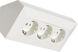 Komplett Hörnbox 3-vägs jordad vit/silver.