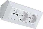 Hörnbox 2-vägsuttag + USB-uttag
