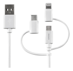 Deltaco USB Multi laddkabel USB-C/Micro/Lightning