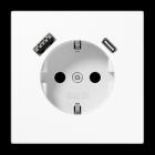 Jung LS990 1-vägsuttag med USB-A + USB-C