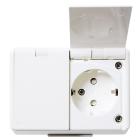 Elko RS Väggttag 2-v Jordat UTP med lock IP44 Renvit